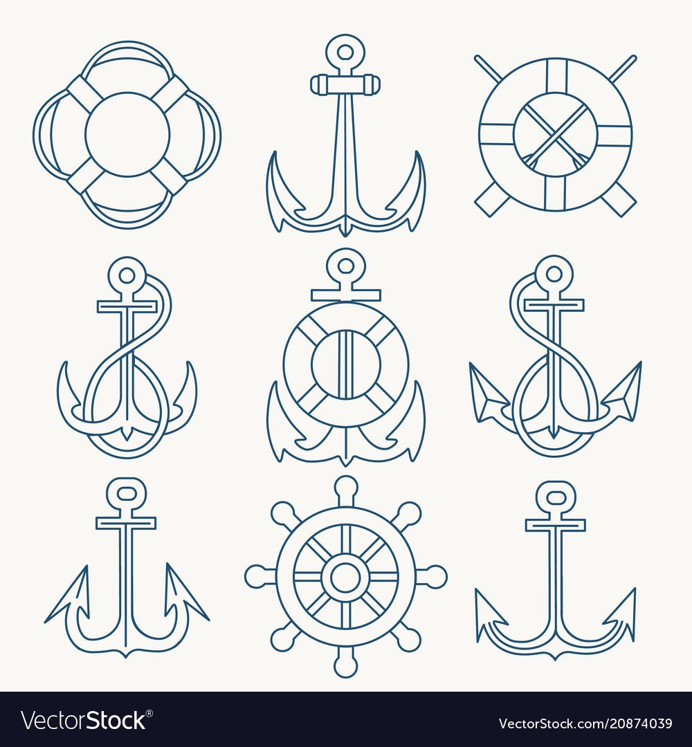 Nautical thin line emblem set