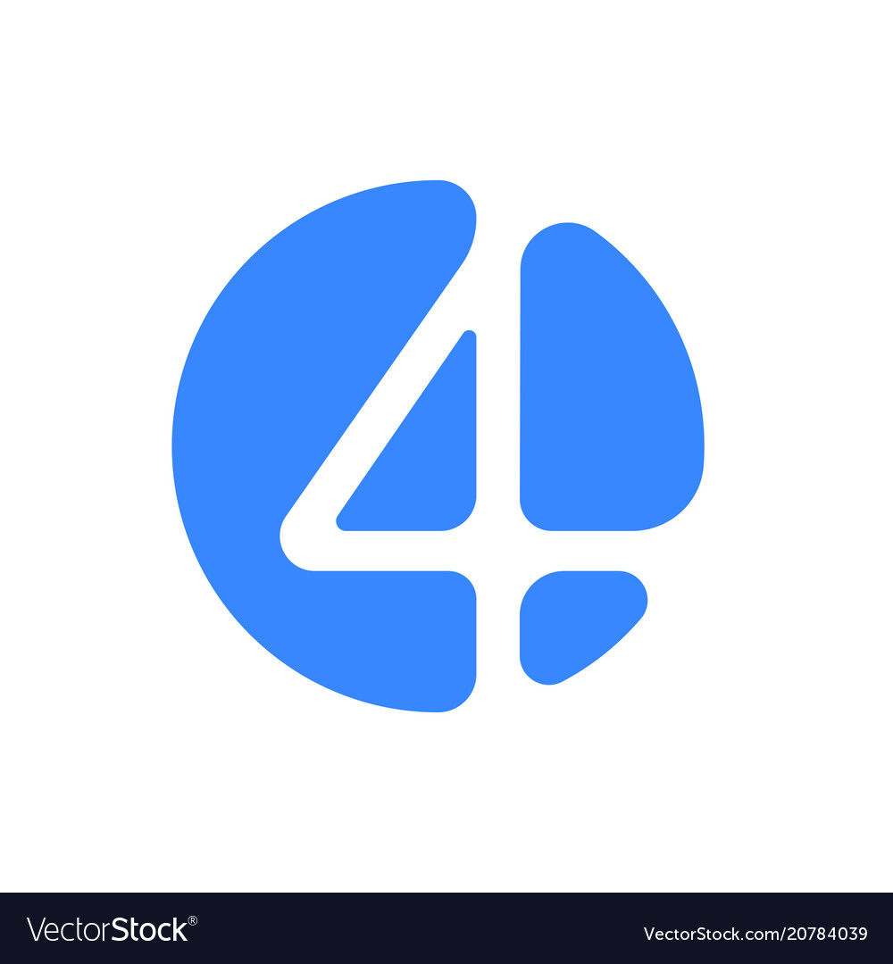 Number 4 four font logo blue icon