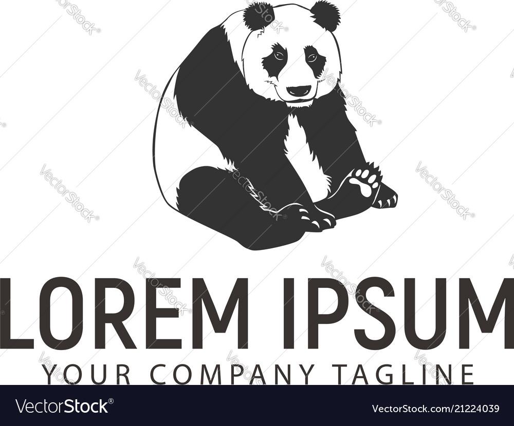 Panda sits logo design concept template