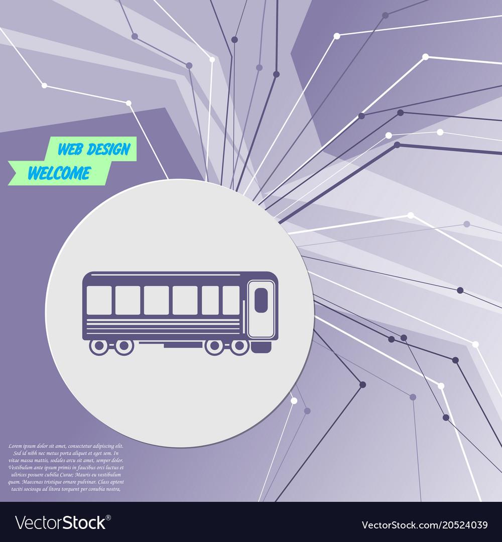 Passenger wagons train icon on purple abstract