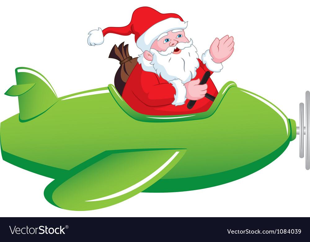 santa in airplane royalty free vector image vectorstock