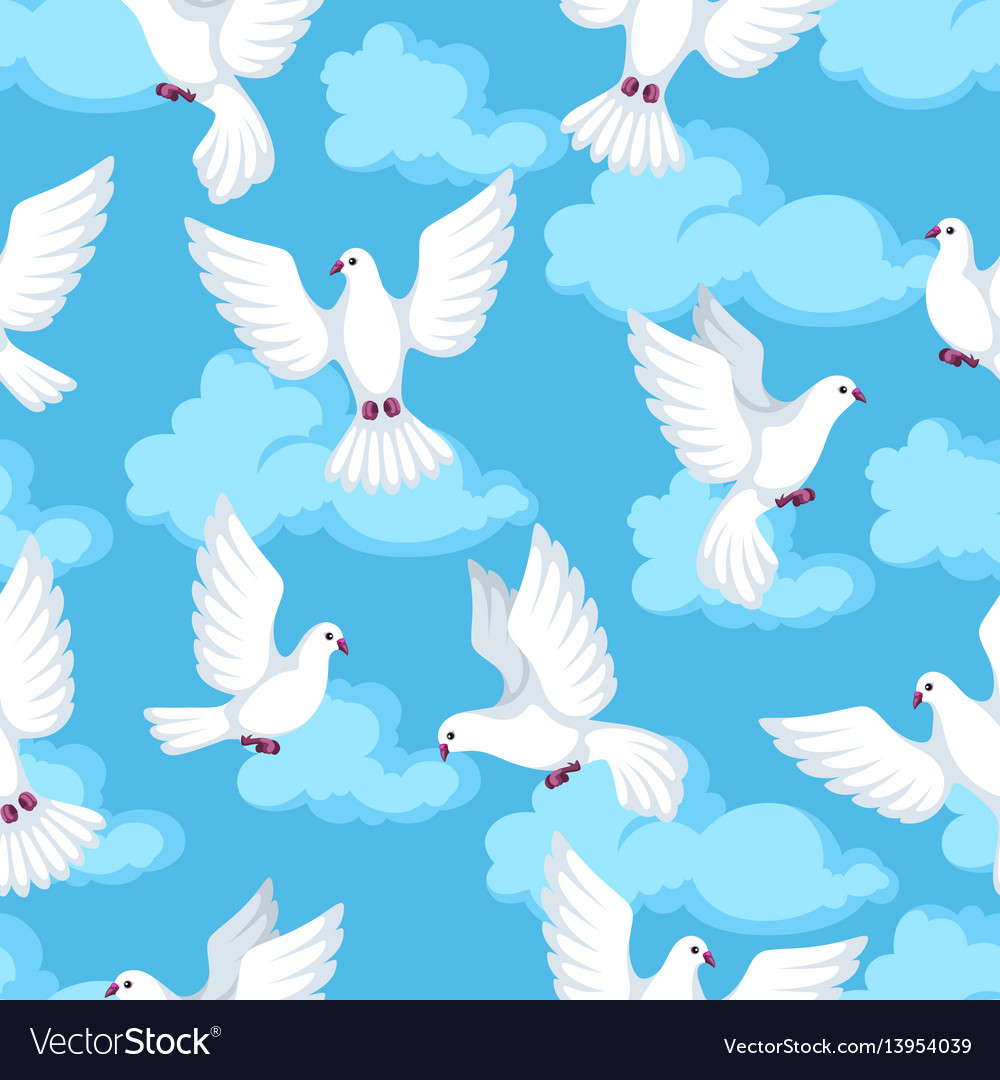 Seamless pattern with white doves beautiful
