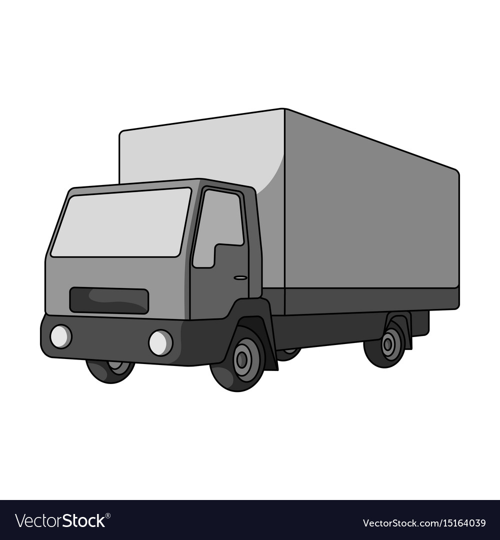 Truck with awningcar single icon in monochrome