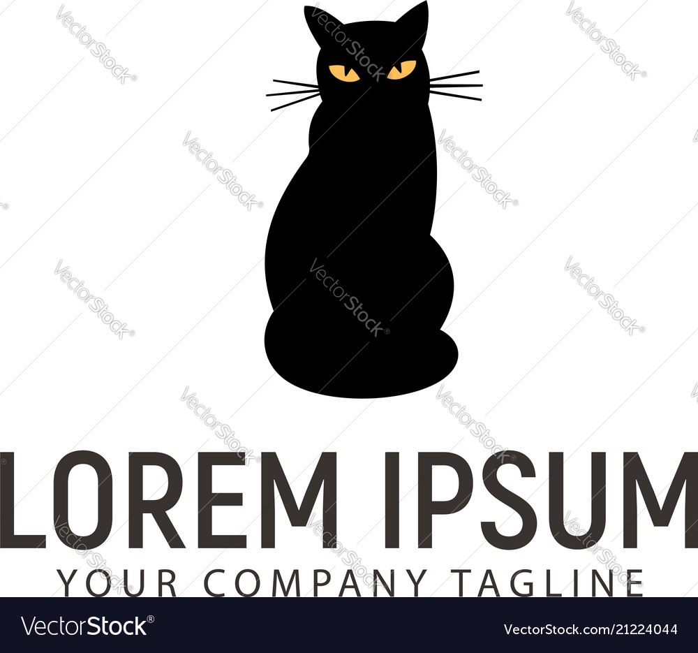 Black cat logo design concept template