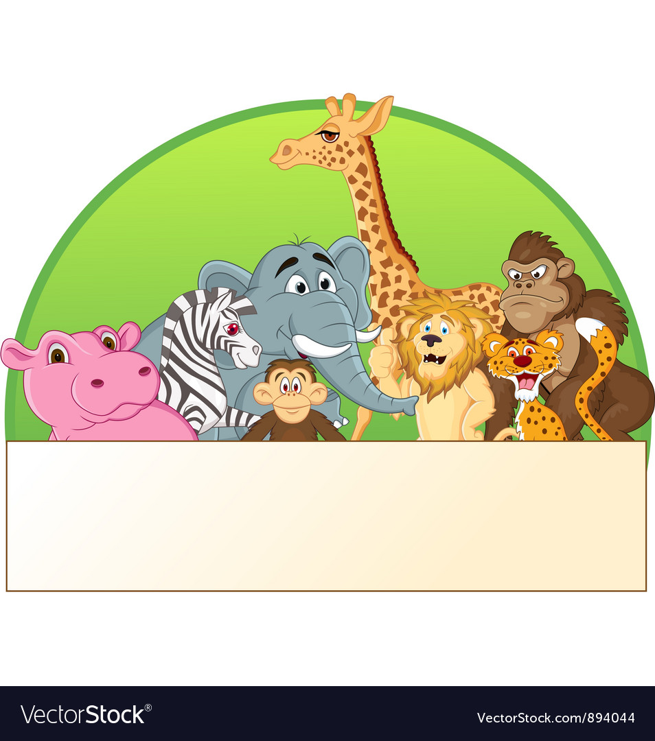 Cute animals cartoon group vector image