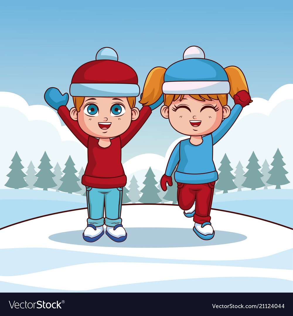 Cute kids with winter clothes
