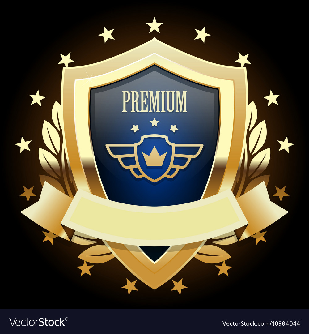 Gold shield emblem with wreath vector image