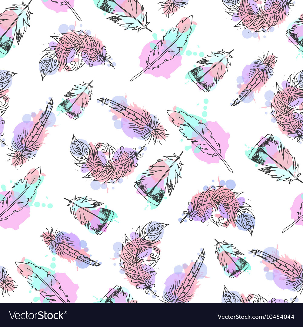Hand drawn feathers seamless pattern vector