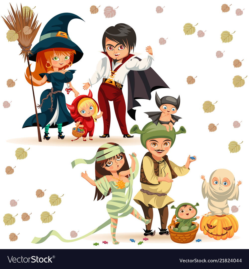 Happy family in halloween costumes poster