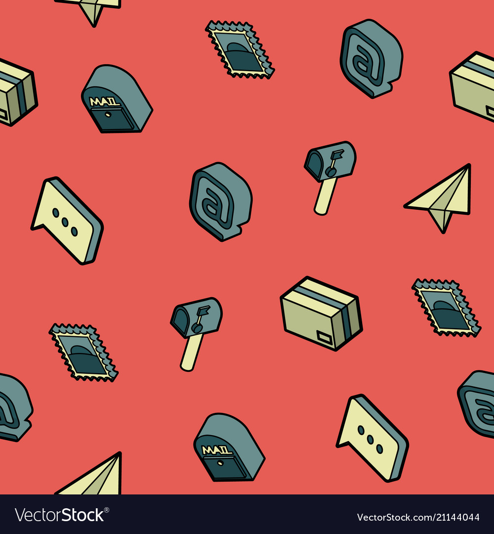 Mail color outline isometric pattern