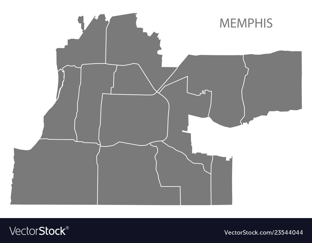 Memphis tennessee city map with neighborhoods