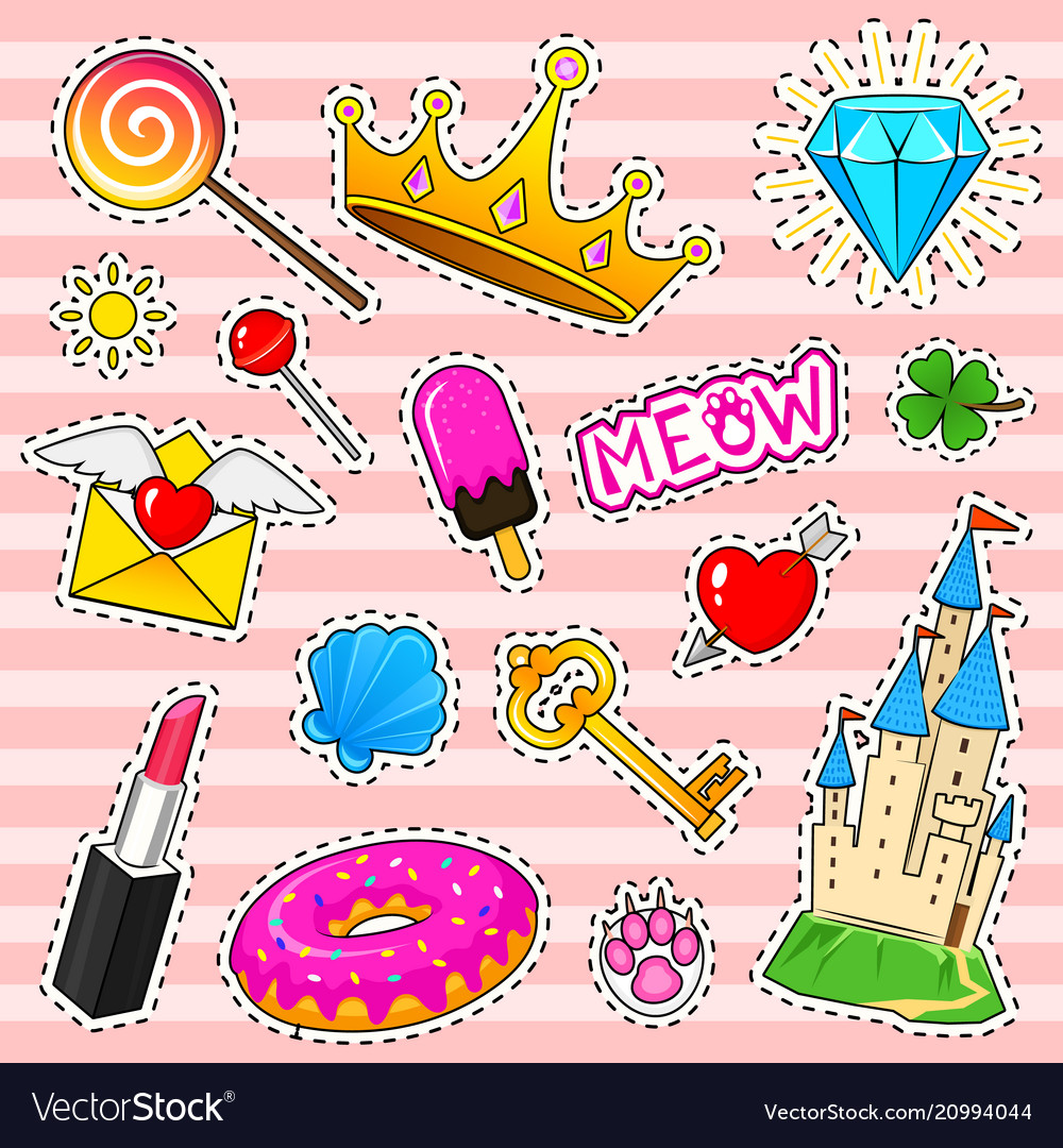 Set of girls fashion cute patches fun stickers