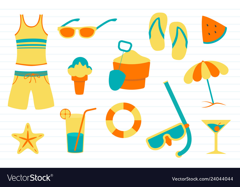 Summer doodle with various objects related to
