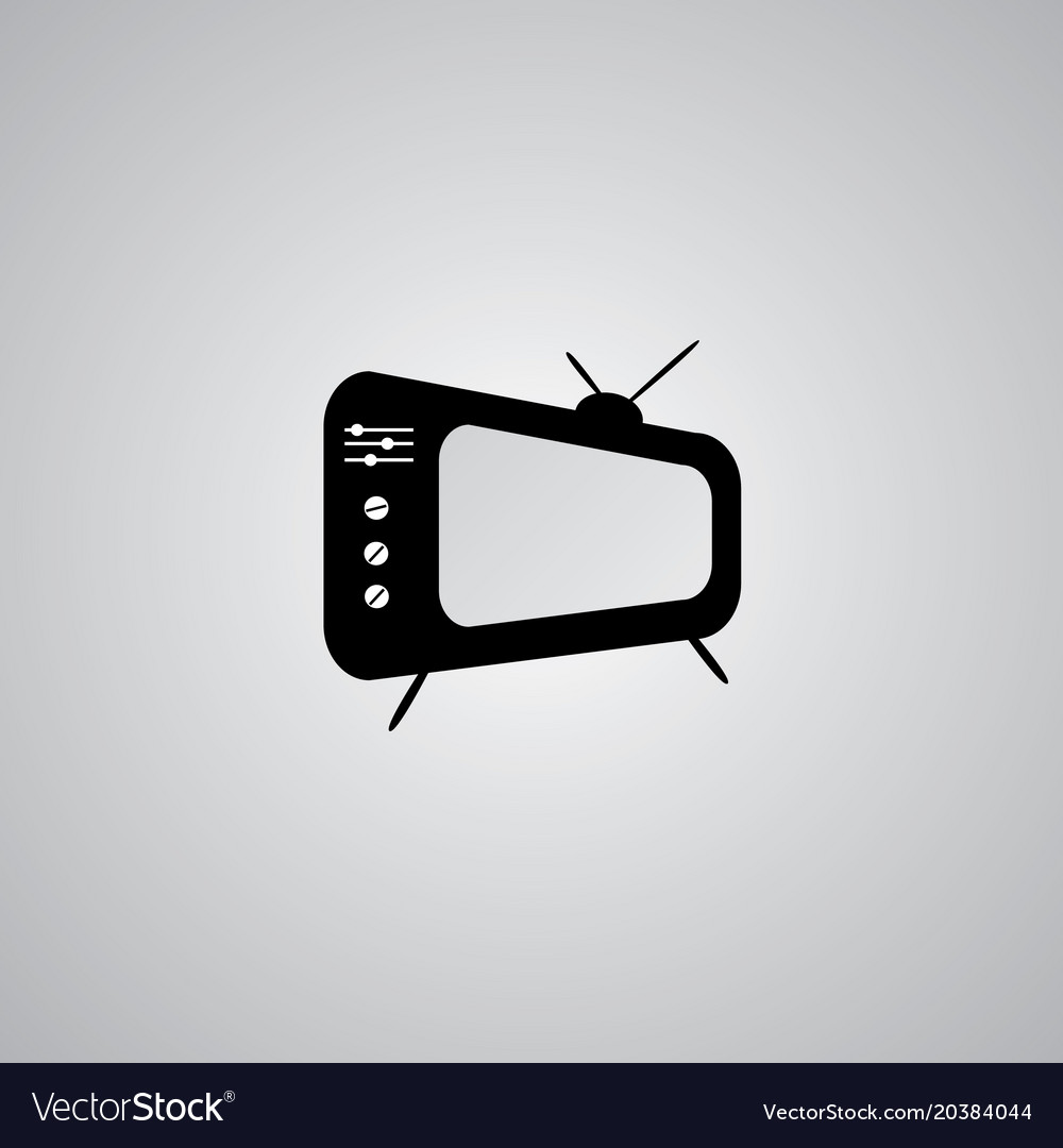Tv icon in trendy flat style isolated on grey