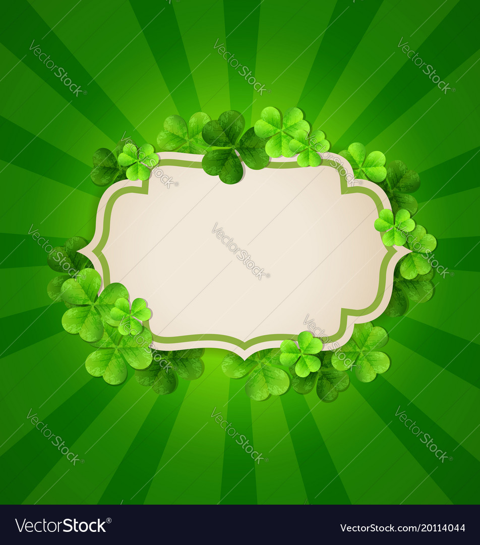 Vintage banner and clover leaves vector image