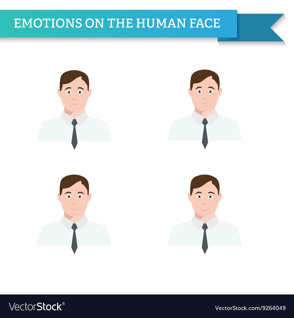 Avatar man in tie emotions