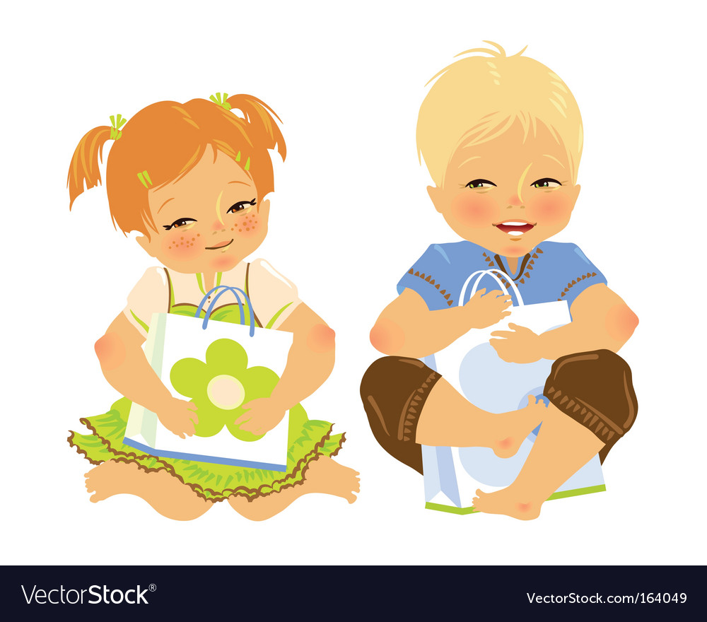 Babies with gift vector image