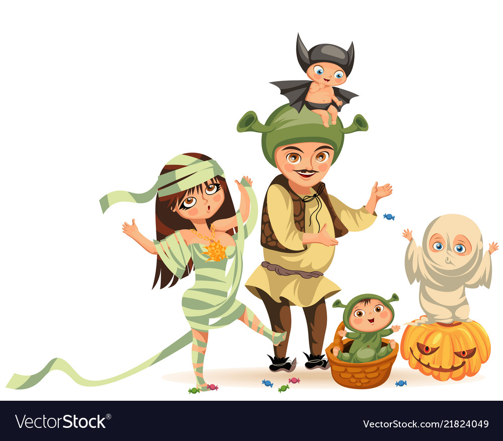 Cartoon family celebrating halloween flat poster