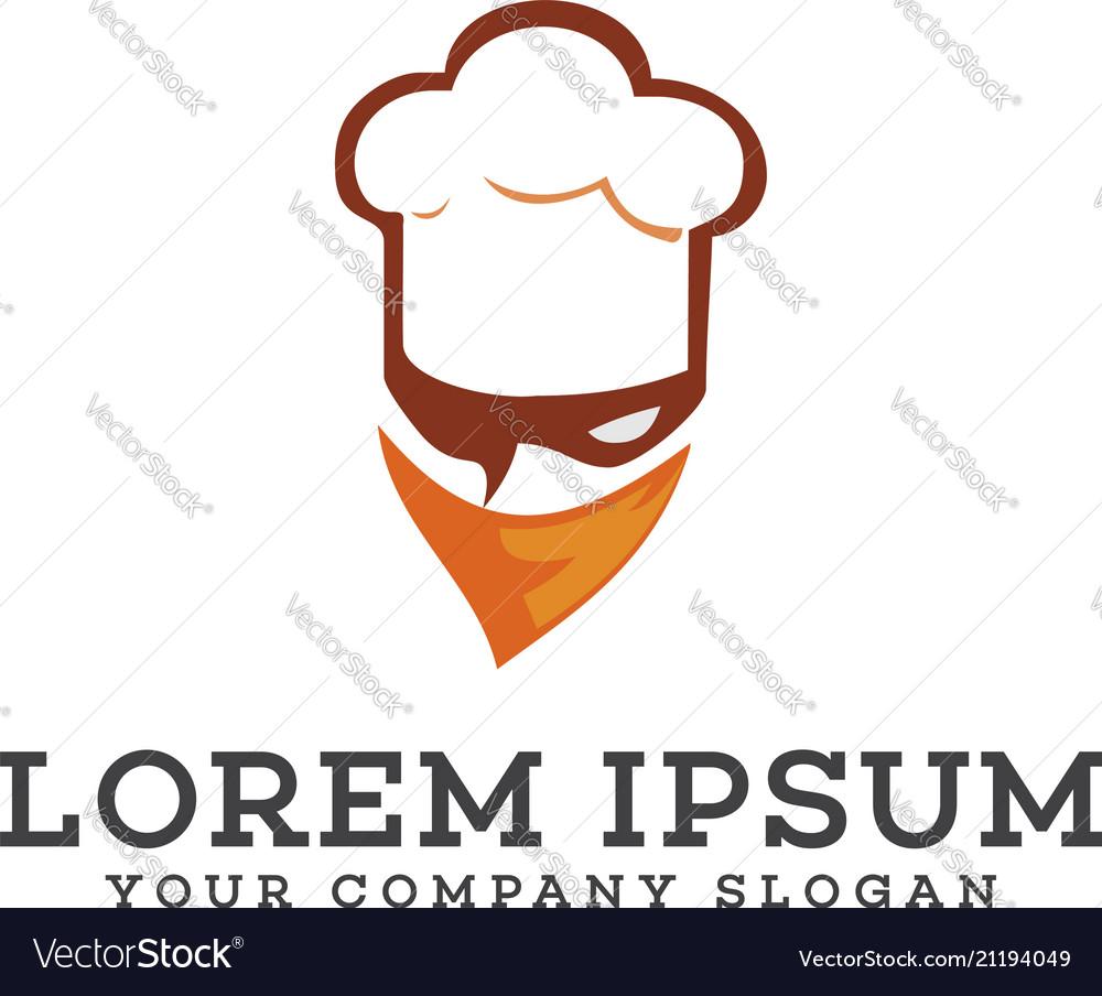 Chef head with mask logo mascot logo design