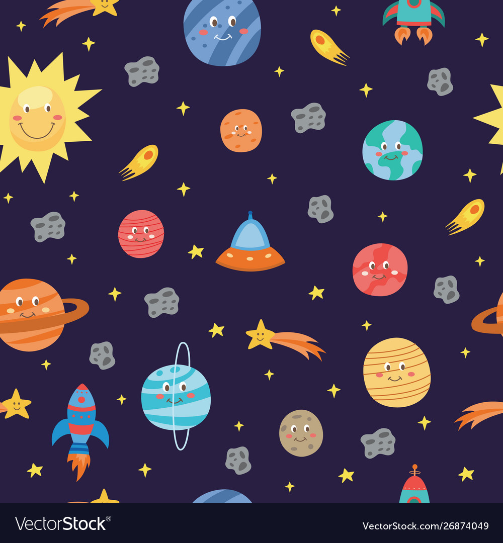Colorful space seamless pattern with planets and