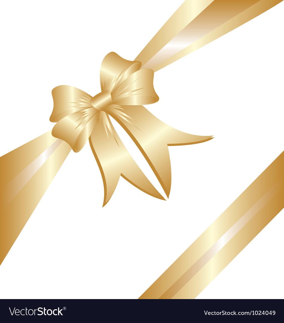 Gold ribbon Christmas gift vector image