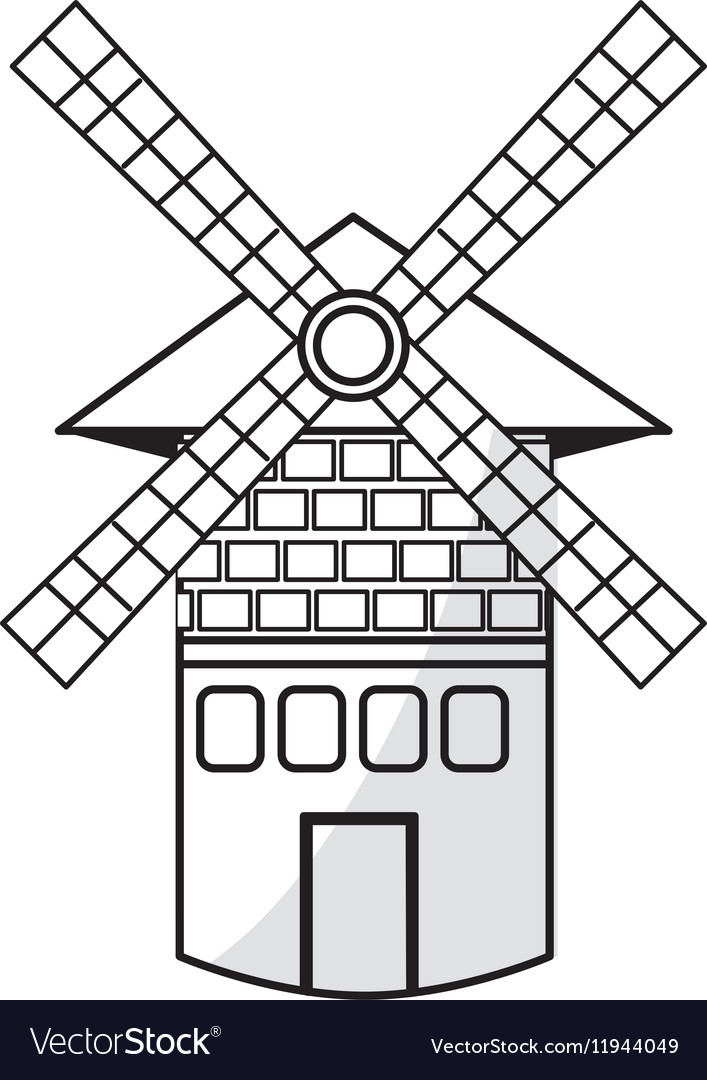 Isolated windmill tower