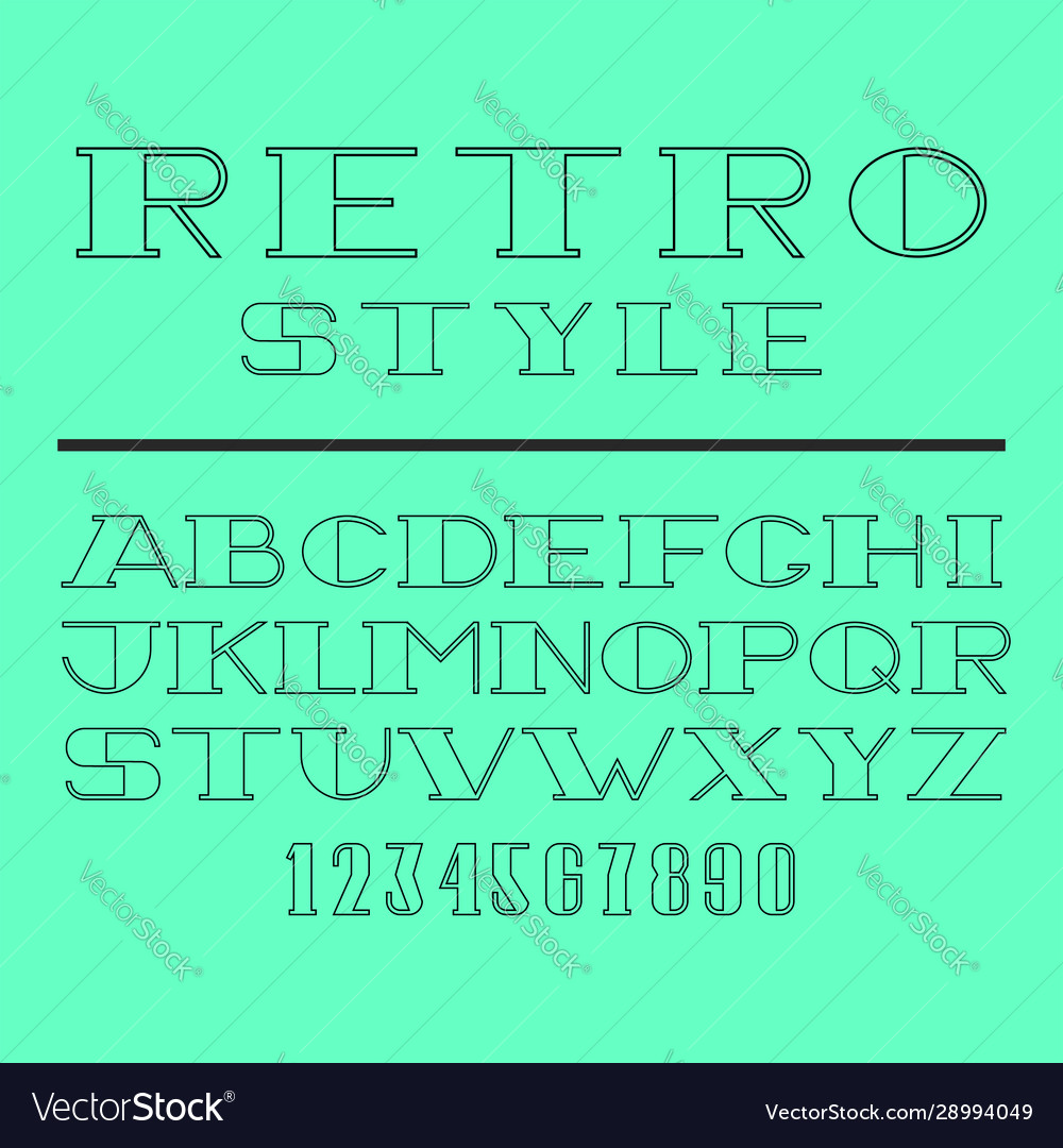 Retro minimal font set latin letters and numbers