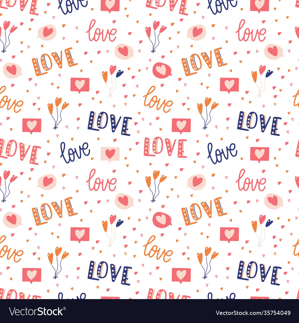 Seamless pattern with big collection love
