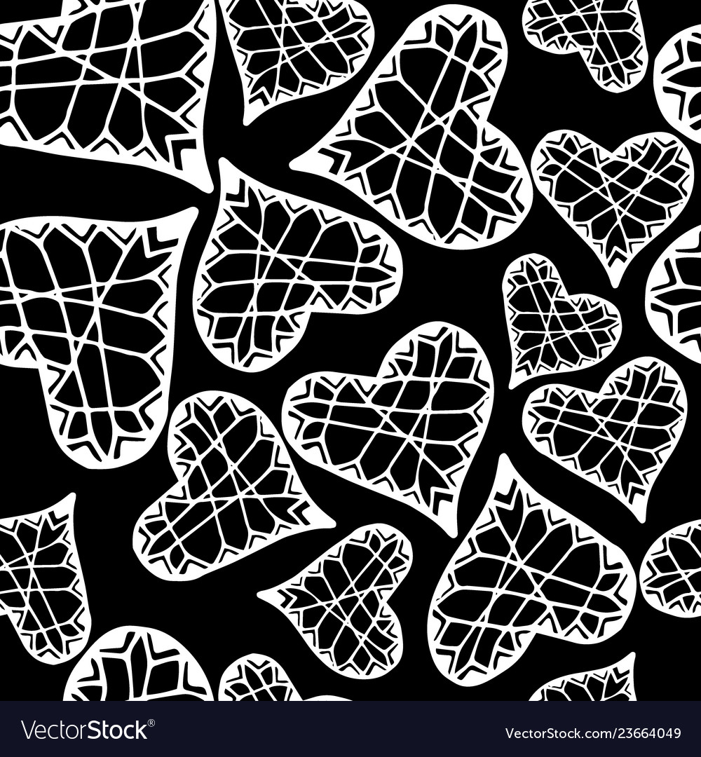 Seamless pattern with hearts romantic