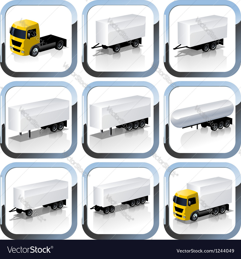 Truck Trailaers Icons Set vector image