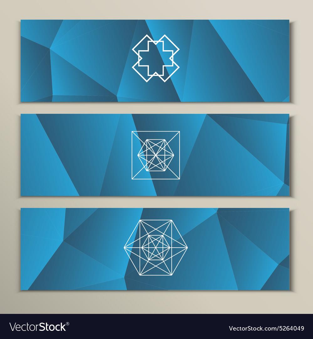 White geometric shapes on a triangular background