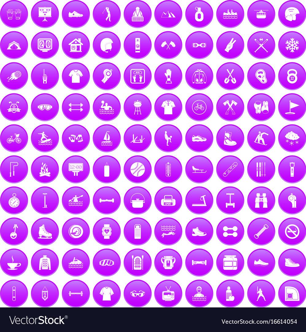 100 sport life icons set purple