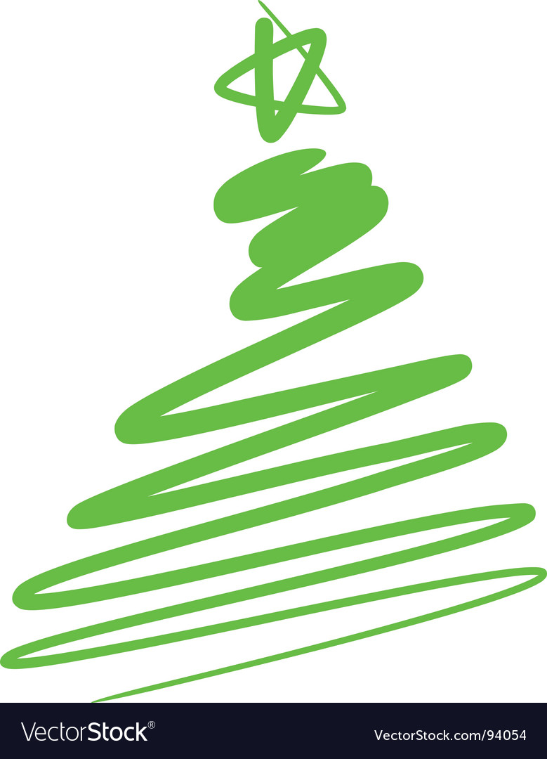 Abstract Christmas tree a simple drawing