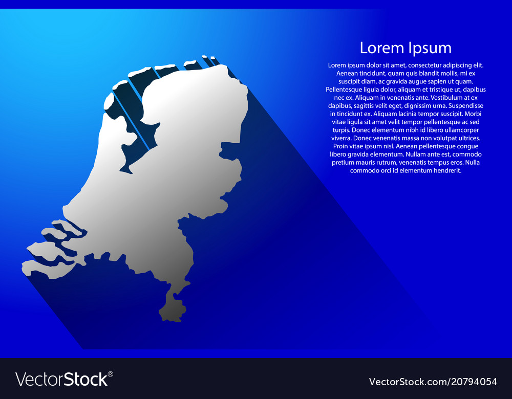 Abstract map of netherlands with long shadow on