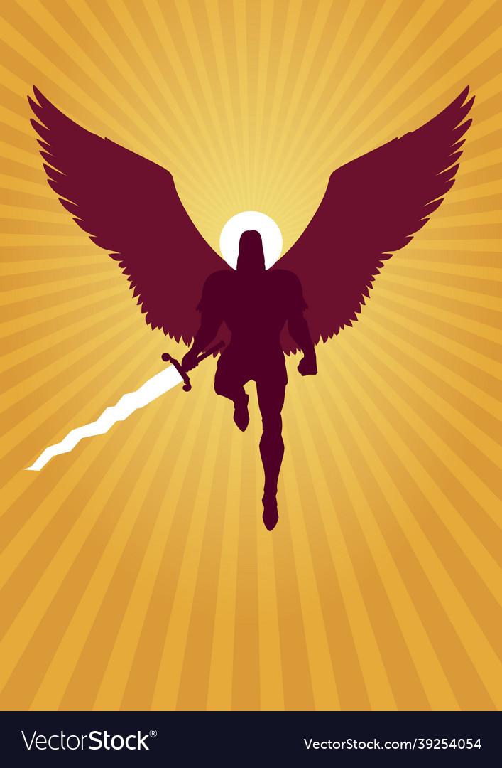 Archangel michael flying silhouette