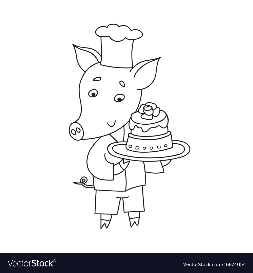 Cheerful pig with sweet cake cartoon happy