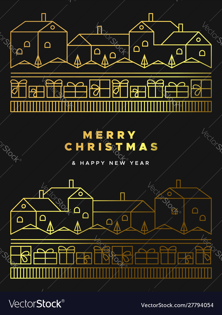 Christmas new year gold winter city landscape card