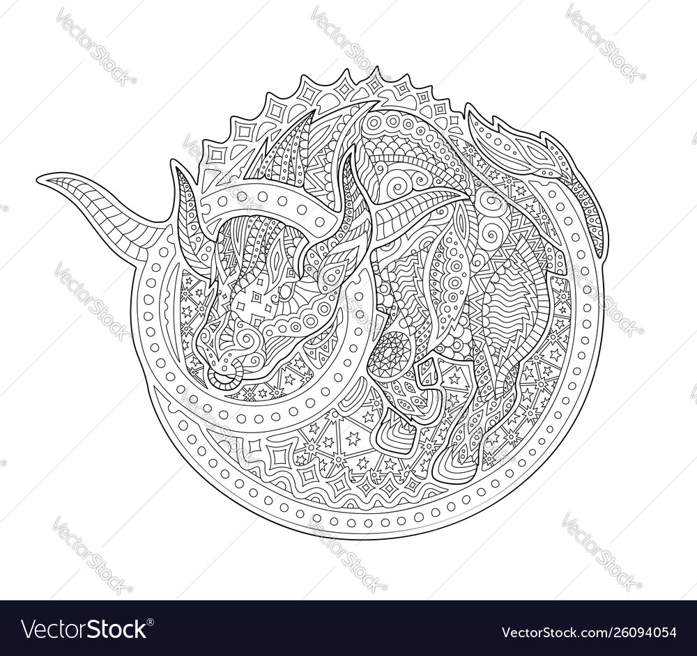 Coloring Book Page With Zodiac Sign Taurus Vector Image