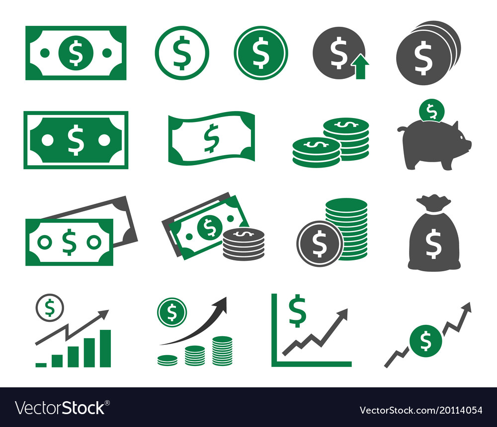 Dollar icons set money icon