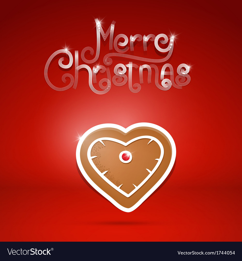 Gingerbread heart and Merry Christmas title on red