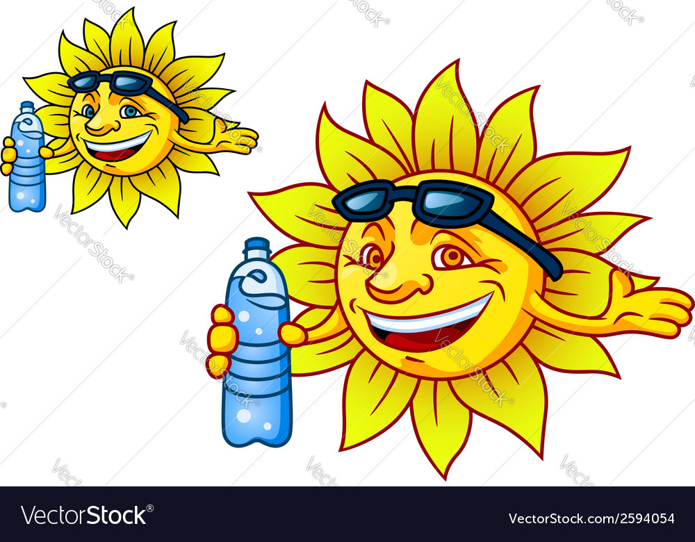 Laughing tropical sun with bottled water vector image