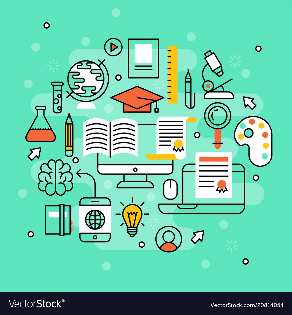 Online learning flat design distant education