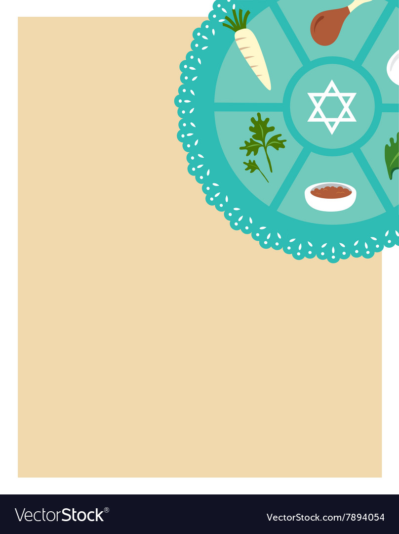 Passover seder flat icons greeting card template vector image m4hsunfo