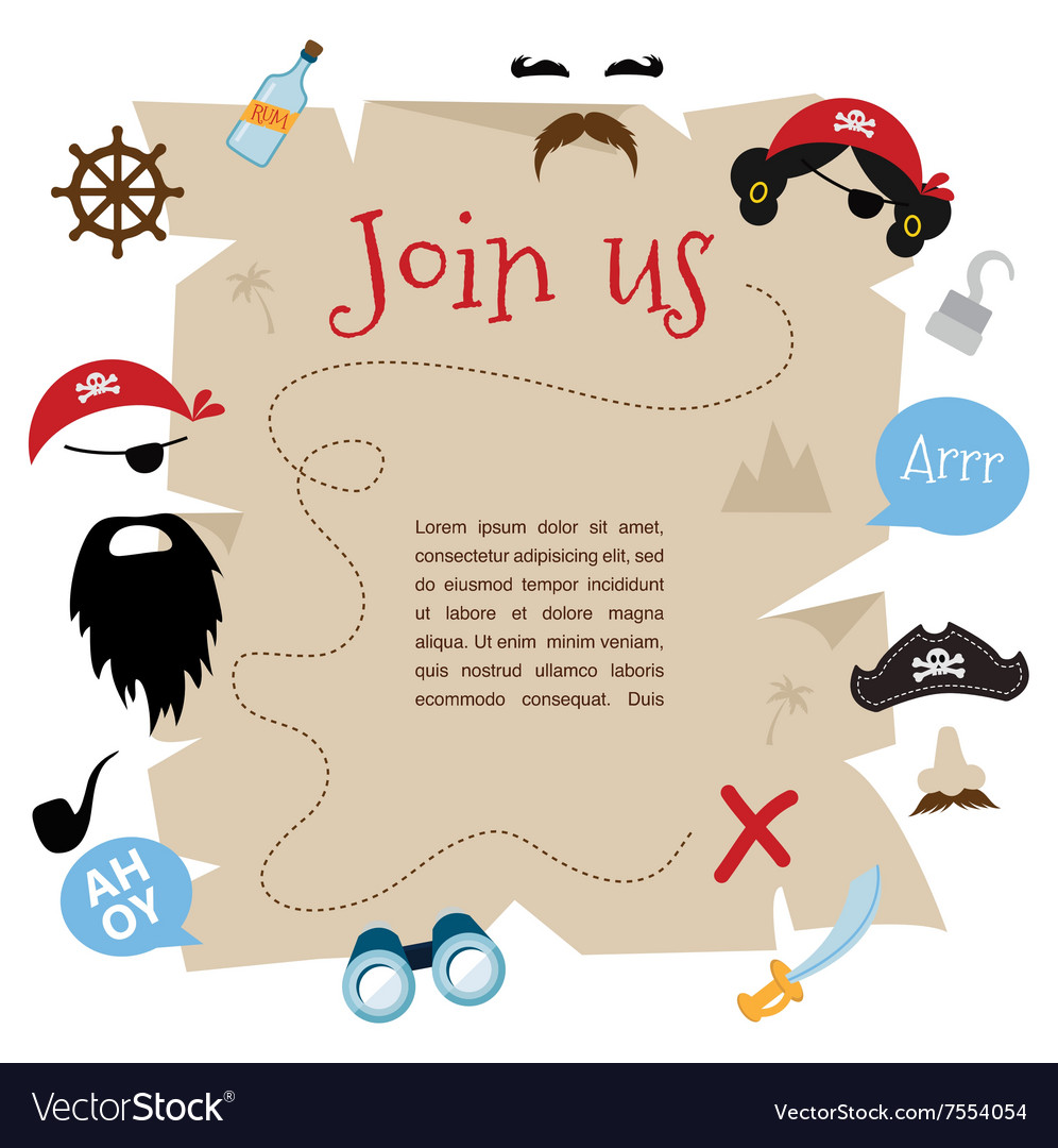 Pirate party invitation card design