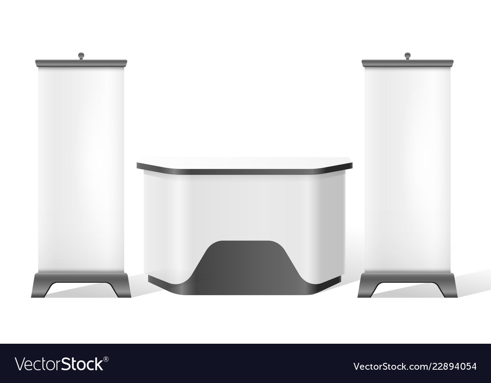 Exhibition Stand Reception : Reception stand exhibition trade 3d mockup vector image