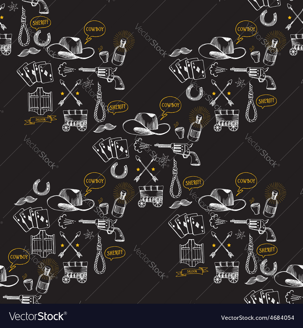 Seamless pattern background western cowboy vector image