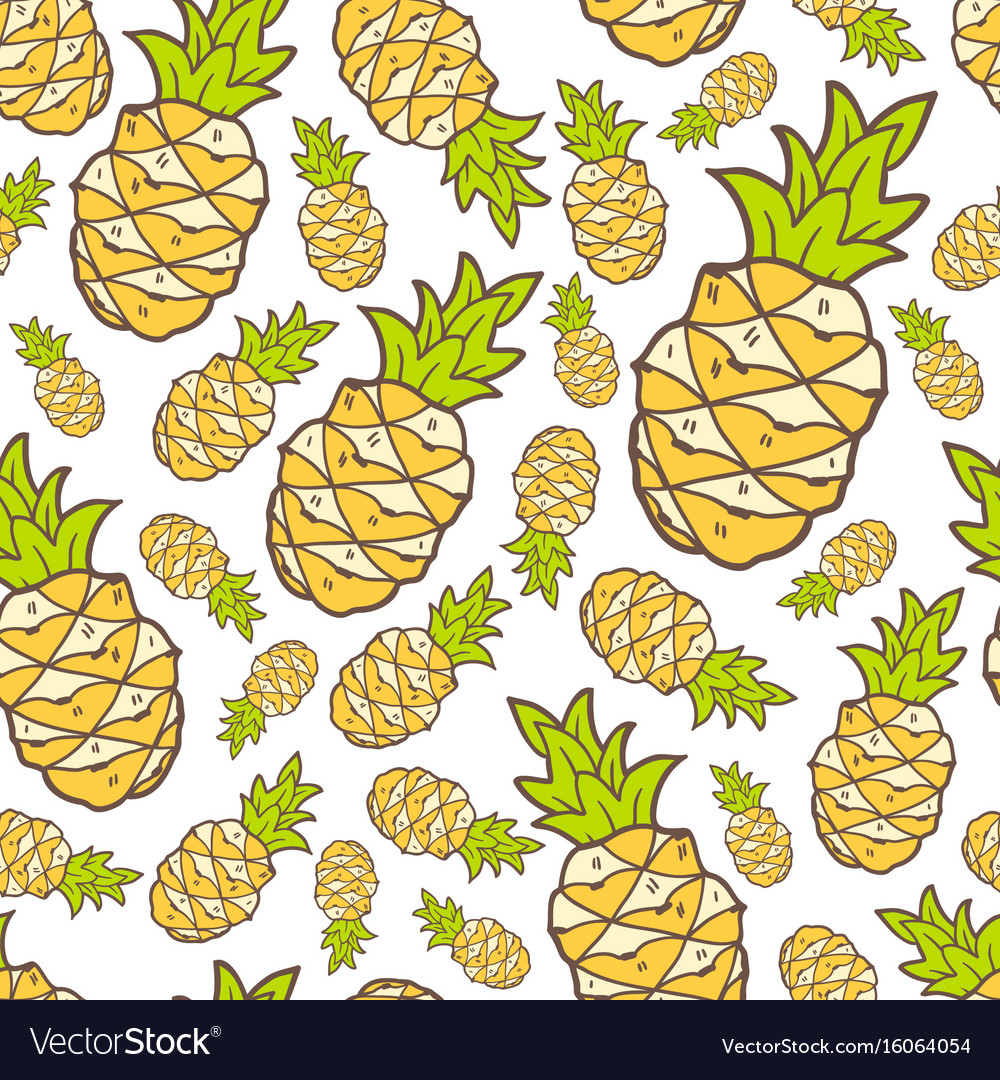 Seamless summer pattern with color pineapple