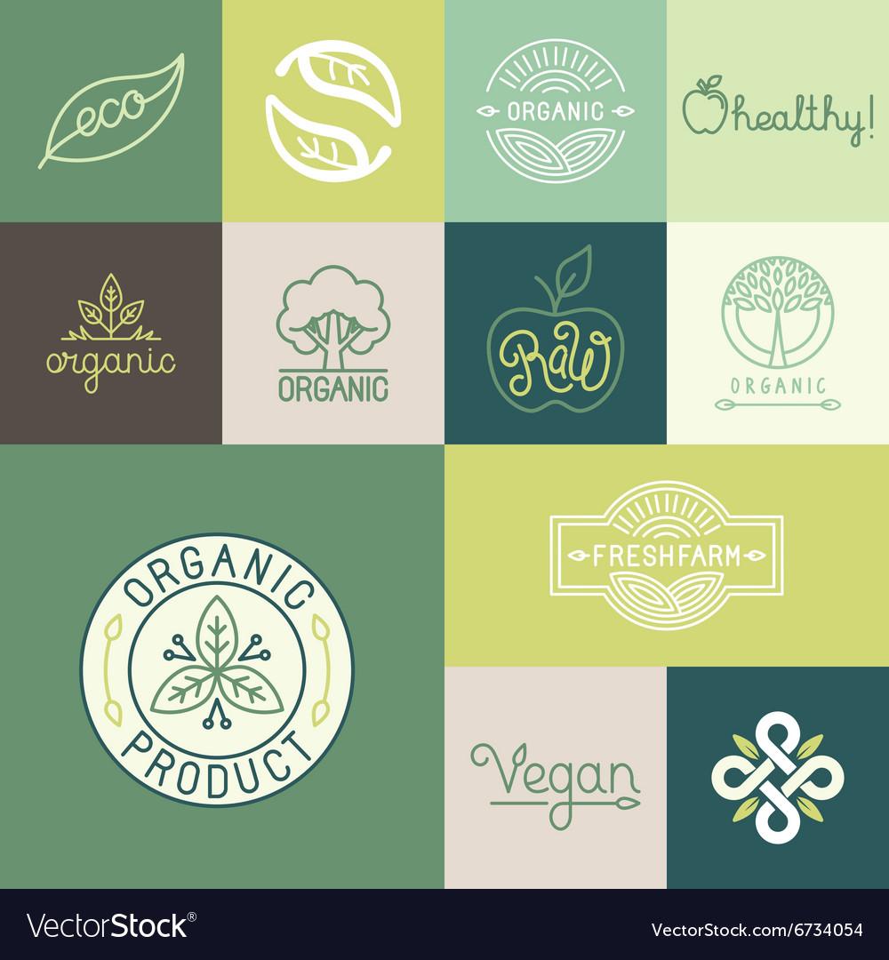 Set of natural organic vegan badges