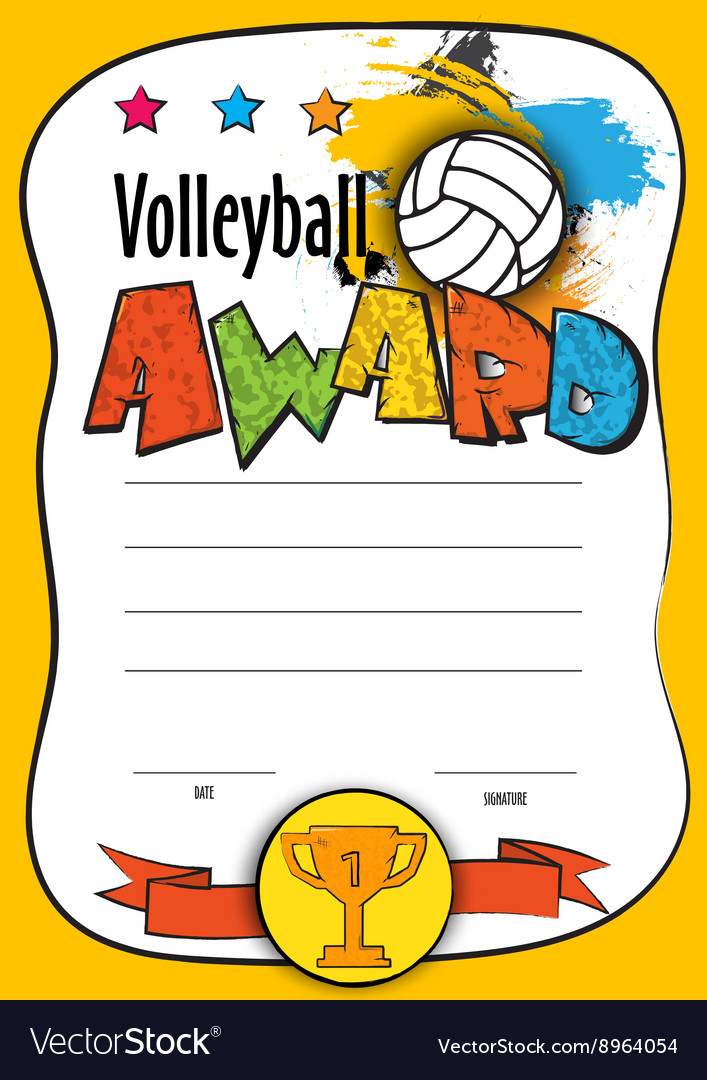 Template certificate volleyball Royalty Free Vector Image