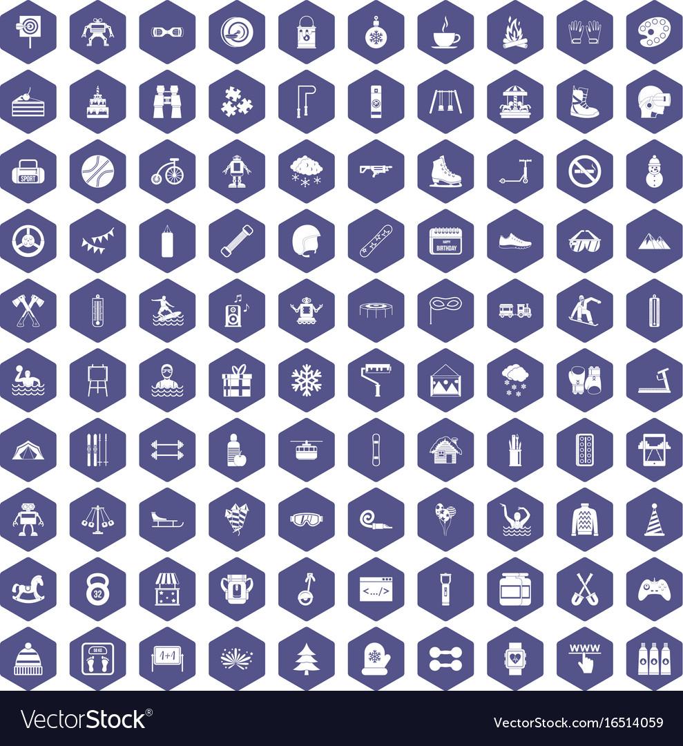 100 children activities icons hexagon purple vector image
